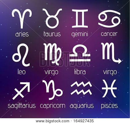 Vector Zodiac Signs Set Illustration on Cosmic Galaxy Background