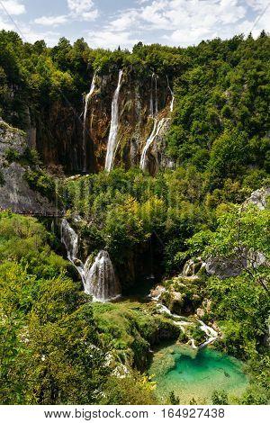 Large waterfalls at Plitvice Lakes National Park.