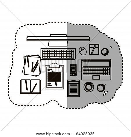 Computer laptop tablet smartphone and document icon. Device gadget technology and electronic theme. Isolated design. Vector illustration