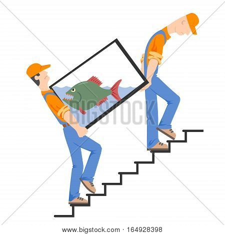 Loaders with an aquarium on the stairs
