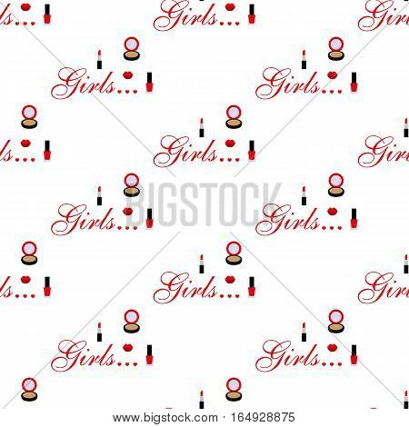 Cosmetic. Seamless pattern on white background. Vector illustration. Flat design style. Swatch inside