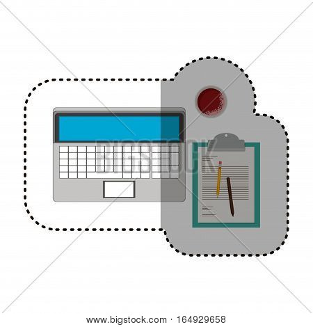Laptop and document con. Device gadget technology and electronic theme. Isolated design. Vector illustration