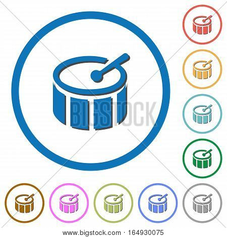 Drum flat color vector icons with shadows in round outlines on white background