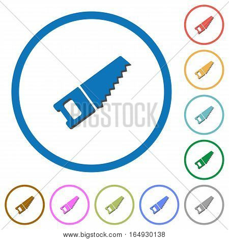 Hand saw flat color vector icons with shadows in round outlines on white background