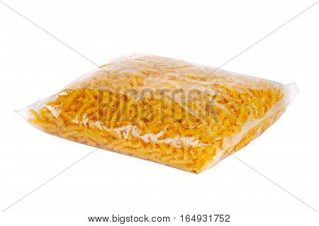Package with macaroni lays on a white background
