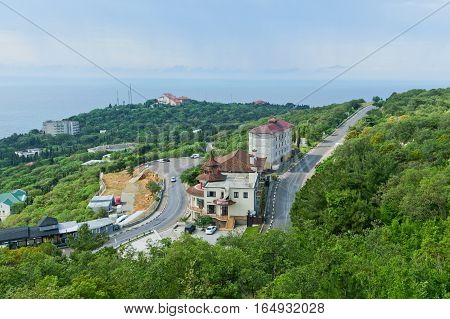 RUSSIA, CRIMEA, YALTA - may 30.2014:  Construction and landscaping of the resort area on the beachfront