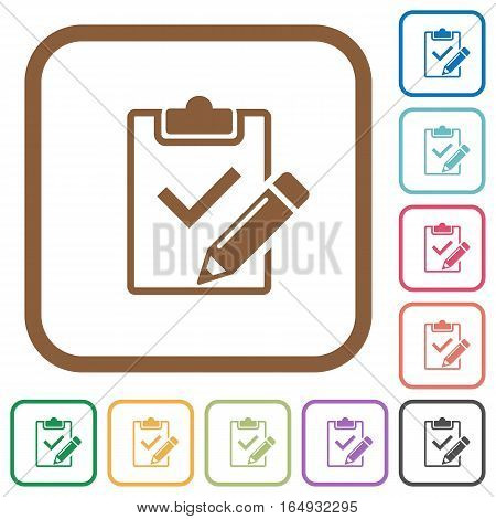 Fill out checklist simple icons in color rounded square frames on white background