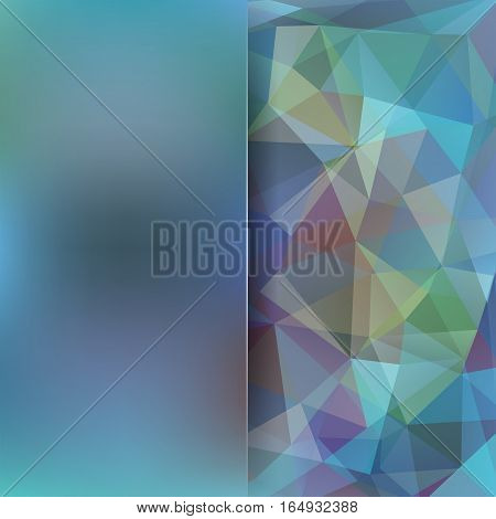 Background Of Blue Geometric Shapes. Blur Background With Glass. Colorful Mosaic Pattern. Vector Eps