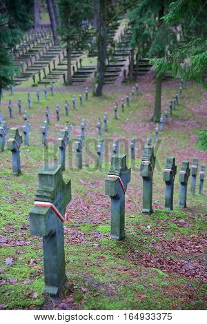 VILNIUS, LITHUANIA - DECEMBER 31, 2016: Antakalnis Cemetery with Polish soldiers' graveyard