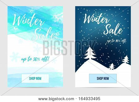 Set of winter sale advertisement banners. For mobile website promotion ads and newsletter.