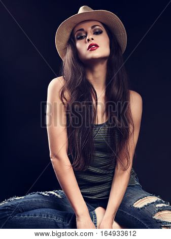 Beautiful Sexy Glamour Makeup Female Model In Cowboy Summer Hat Posing In Top And Ripped Jeans On Da