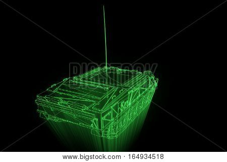 3D Tank Hologram Wireframe in Motion. Nice 3D Rendering