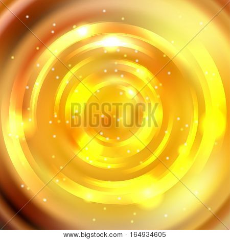Abstract Yellow Circle Background, Vector Design. Glowing Spiral. The Energy Flow Tunnel.