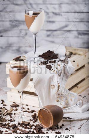 Italian dessert chocolate and vanilla panna cotta
