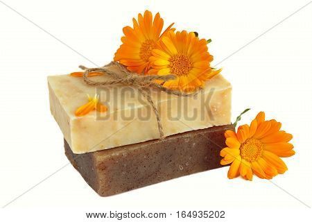 Natural handmade soap with calendula isolated on white