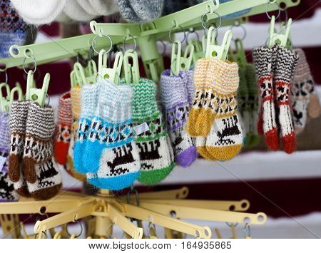 children's mittens of wool colorful in market
