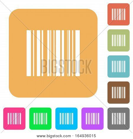 Barcode flat icons on rounded square vivid color backgrounds.