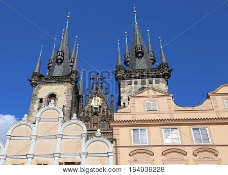 Church Of Our Lady Before Tyn From Old Town Square In Prague