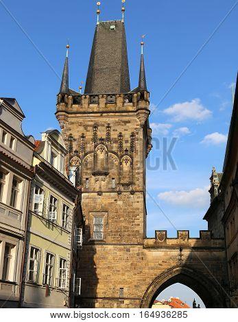 Tower S Of The Charles Bridge In Prague Czech Republic Europe