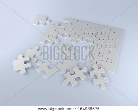 puzzle on white background business team 3D illustration