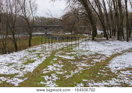 Late autumnal landscape on a Psel river near Hadiach city Ukraine