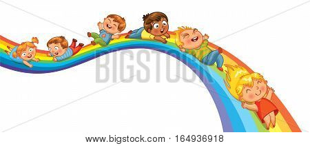 Children ride on a rainbow. Vector illustration. Isolated on white background