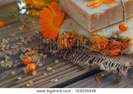 Natural Handmade Soap With Calendula And Sea-buckthorn