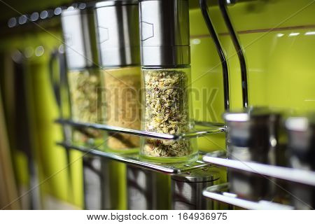 spices in the kitchen railings. Shallow depth of field