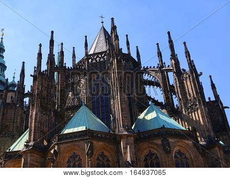 Gothic Spiers Of Saint Vitus Cathedral In Prague