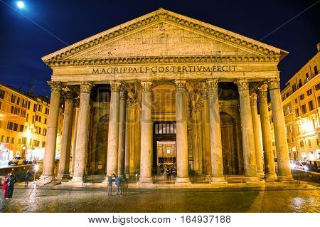 ROME - NOVEMBER 10: Pantheon at the Piazza della Rotonda with people on November 10 2016 in Rome Italy.