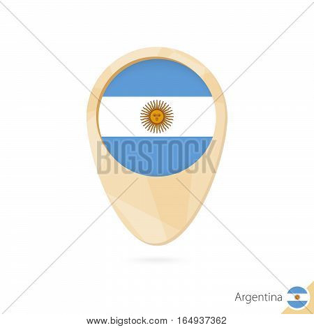 Map Pointer With Flag Of Argentina. Orange Abstract Map Icon.