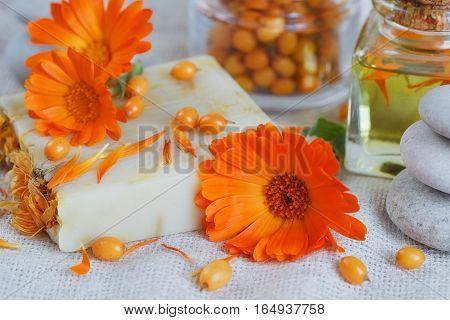 Natural Handmade Soap With Calendula And Sea Buckthorn
