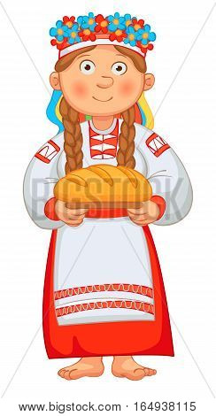 Ukrainian girl meets honored guests with bread and salt. Young Woman in Ukrainian Clothes Holding loaf. Vector illustration. Isolated on white background