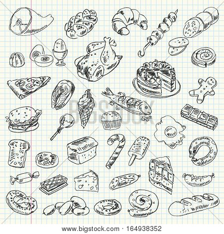 Freehand drawing high-calorie food on a sheet of exercise book. Vector illustration. Set