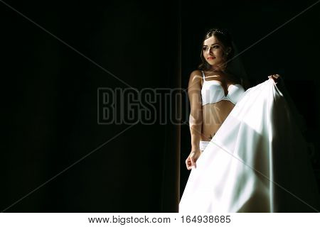 Beautiful bride with the bridal dress in the hands