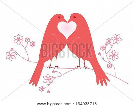 Pair of lovebirds. Valentine's Day. Vector illustration. Isolated on white background