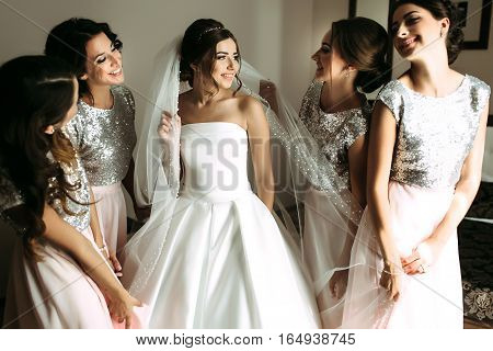 Bride In The Veil Surrounded By Bridesmaids