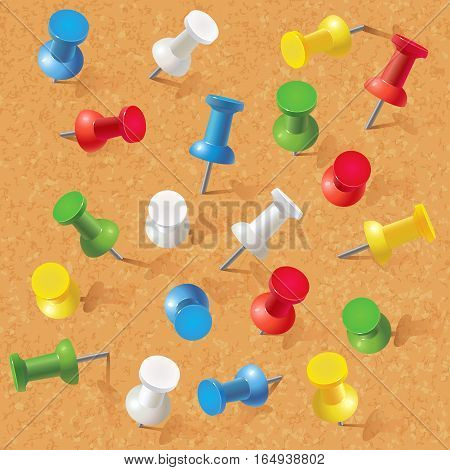 Group of thumbtacks pinned on corkboard. Front view. Vector illustration. Set