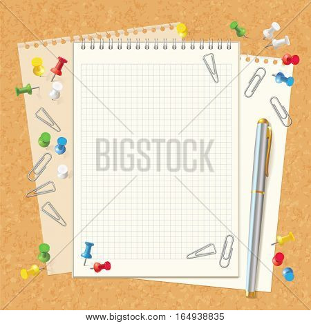 Blank spiral notebook on cork board. Pen, paper clips and buttons. Top view. Vector illustration. Set