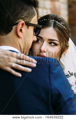 Charming Glance Of The Young Happy Bride
