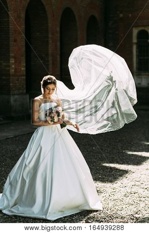 Portrait Of The Bride In The Windy Weather