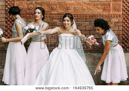 Bride With The Lovely Girls In The Wedding Day