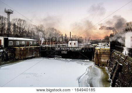 Kronstadt .Russia.January 6 2017.Petrovsky dock in Kronstadt in St. Petersburg in the winter.