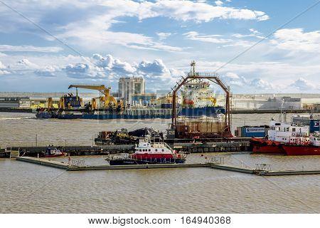 Kronstadt .Russia.June 8 2015.Container terminal Moby dik in Kronshtadt Saint-Petersburg.