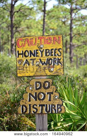 Hand painted sign indicating honey bee hives present