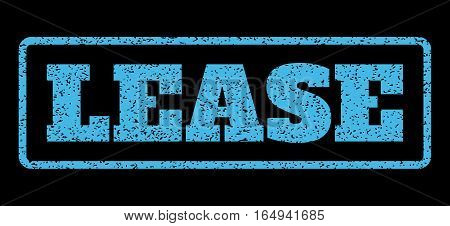 Light Blue rubber seal stamp with Lease text. Vector message inside rounded rectangular banner. Grunge design and scratched texture for watermark labels. Horisontal sign on a black background.