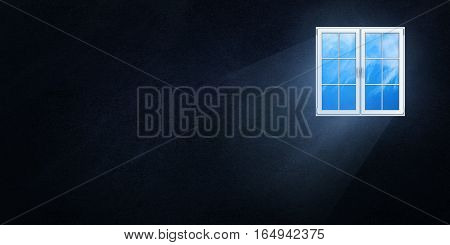 The light flux through the plastic window on a dark background, 3d illustration