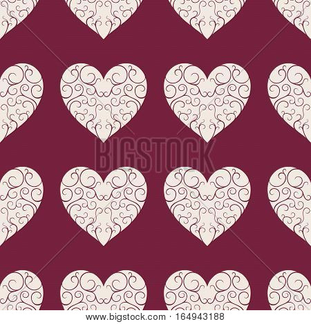 The Pattern Of The Beautiful Beige Openwork Hearts On A Dark Red Background.