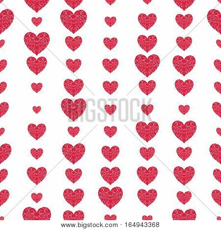 The Pattern Of The Beautiful Red Openwork Hearts On A White Background.