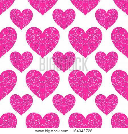 The pattern of beautiful pink openwork hearts on a white background .. Valentine's Day. Holiday packages. Seamless image. Floral ornament.